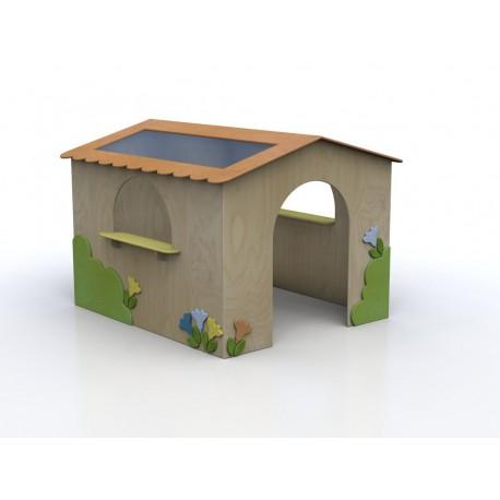 I giochi di ruolo Casetta Betta per bambini in legno con ingresso e finesta by TANGRAM di 2H arredi per asilo