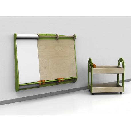 Pannello obliquo a parete Donatello con mensola portabicchieri e portarotoli by TANGRAM di 2H arredi per asilo