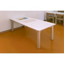 Tavolo rettangolare Pitagora bilaminato con 3 fori con vasche in plastica by TANGRAM di 2H arredi per asilo