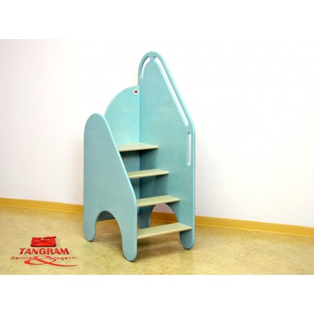 Scaletta Oplà indipendente per fasciatoio in legno multistrato 40 x 58 x 118 cm by TANGRAM di 2H arredi per asilo