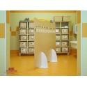 Pannello Olmo divisorio bifrontale 24 posti con piedistalli in polietilene