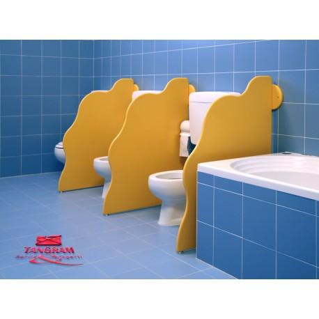 Pannello divisorio WC Privacy sagomato in polietilene colorato 74 x 90 cm by TANGRAM di 2H arredi per asilo