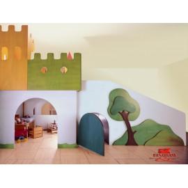 Struttura gioco polifunzionale Il Castello incantato in legno multistrato by TANGRAM di 2H arredi per asilo