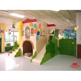 La Torre in festa Struttura gioco polifunzionale in legno 300 x 280 x 270 cm by TANGRAM di 2H arredi per asilo