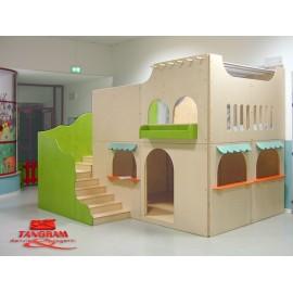 Struttura gioco polifunzionale La casa al mare in legno 375 x 280 x 256 cm