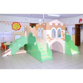 Struttura gioco polifunzionale Il Castello medievale con arrampicata in legno