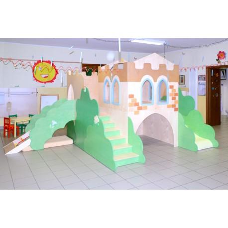 Struttura gioco polifunzionale Il Castello medievale con arrampicata in legno by TANGRAM di 2H arredi per asilo