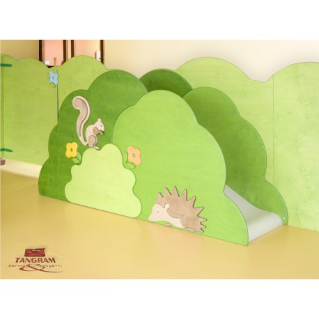 Struttura gioco polifunzionale I piccoli amici in legno 200 x 64 x 135 cm by TANGRAM di 2H arredi per asilo