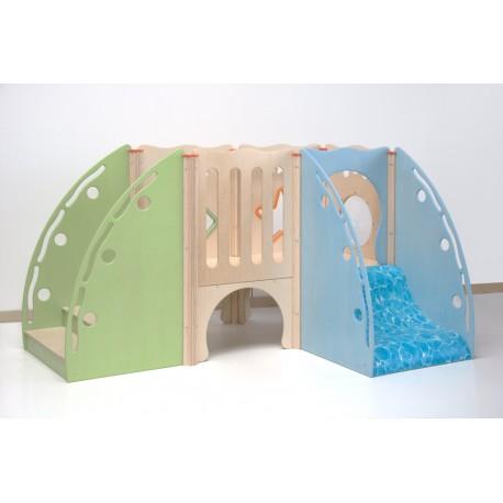 Struttura gioco polifunzionale Piccola modello B in legno 243 x 157 x 134 cm by TANGRAM di 2H arredi per asilo
