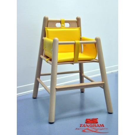 Seggiolone Fisso per bambini in legno di faggio con imbottitura 38 x 38 x 53 cm by TANGRAM di 2H arredi per asilo