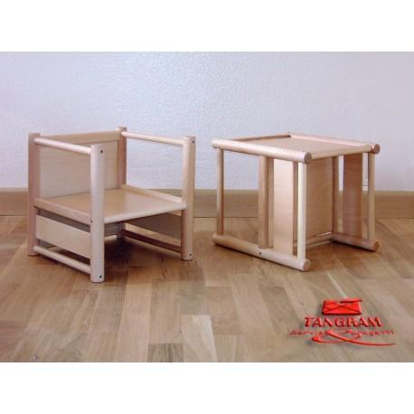 Sediolina per bambini Pongo multiuso in legno con braccioli 33 x 31 x 33 cm by TANGRAM di 2H arredi per asilo