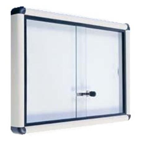 Bacheca con ante scorrevoli in vetro con serratura 150 x 7 x 100 cm by TANGRAM di 2H arredi per asilo