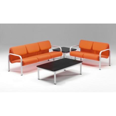 Divano a 2 posti linea 440 struttura metallica e sedile e schienale imbottiti by TANGRAM di 2H arredi per asilo