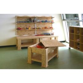 Banco lavoro Giuseppe con vasca ripiano legno a scaglie orientate più dimensioni