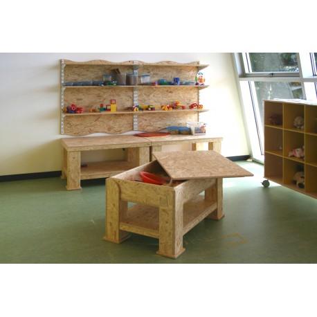 Banco lavoro Giuseppe con vasca ripiano legno a scaglie orientate più dimensioni by TANGRAM di 2H arredi per asilo